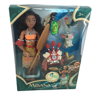 6pcs/set Disney about 30cm Moana Princess Doll with Lights Music Action Figure Dolls Costumes for Childrens Birthday Gift