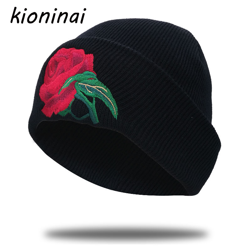 Kioninai Knitted Winter Hat Rose Floral Embroidery Beanie Cap Brand Keep Warm For Women Balaclava Bonnet Knitted Hat