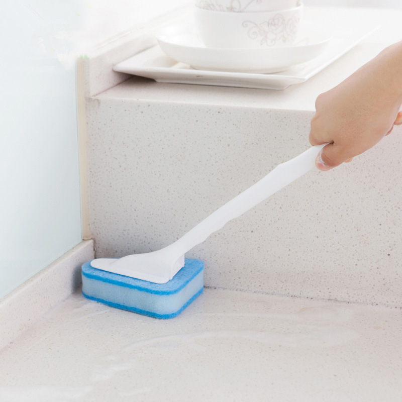 Triangle Long Handle Sponge Brushes Bathroom Floor Tiles Cleaning Brushes Three Layers Two Sided Use Household Cleaning Tools