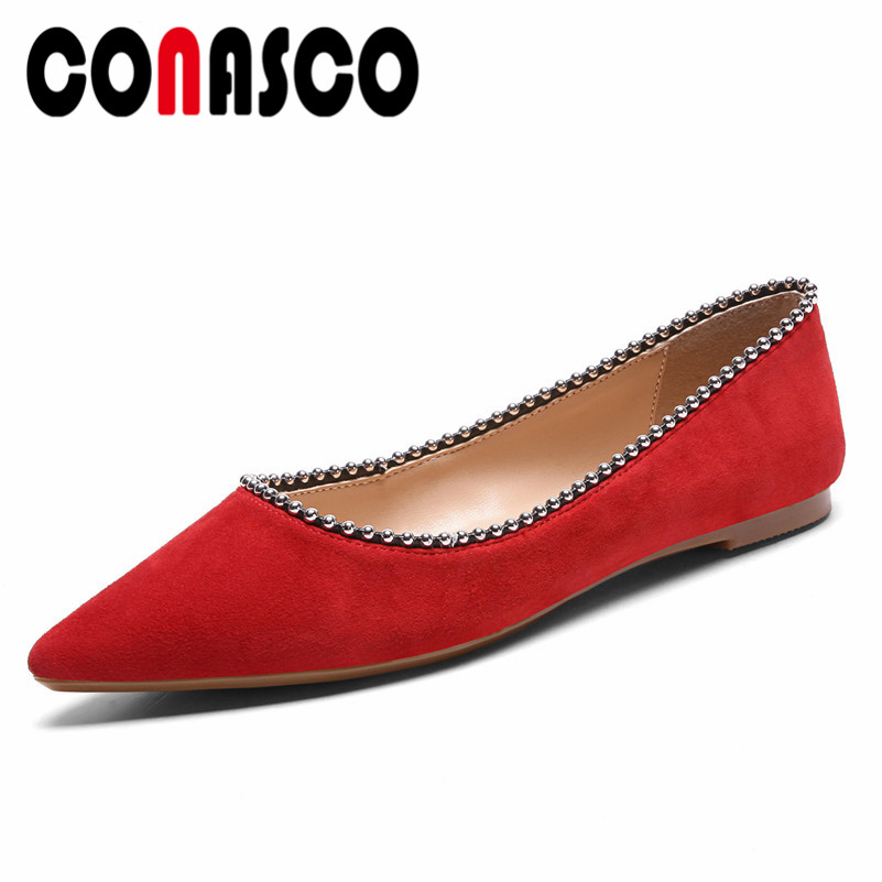 CONASCO New Arrival Women Boat Shoes Suede Leather Spring Autumn Elegant Flats Casual Quality Office Lady Shallow Shoes Woman