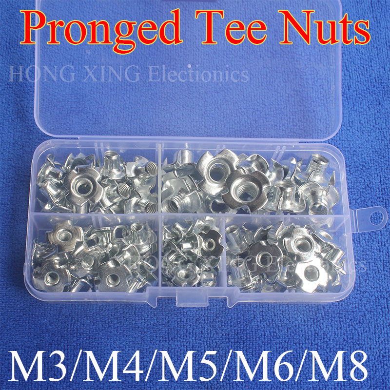 90pcs M3 M4 M5 M6 M8 Captive T Nuts Pronged Tee Nuts Blind Nuts Zinc Plated Carbon Steel Metric Assortment Kit m2 5 pem nuts standoffs blind rivet captive nuts self clinching blind fasteners