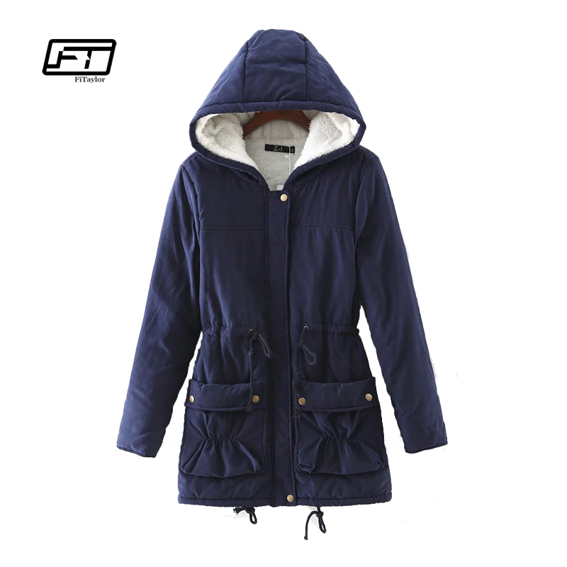 Fitaylor New 2017 Winter Women Jackets Cotton Padded Coat Long Slim Hooded Parkas Casual Wadded Quilt Snow Outwear Warm Overcoat msfilia new winter coat warm slim women jackets cotton padded medium long thick hooded parkas casual wadded fleece outwear