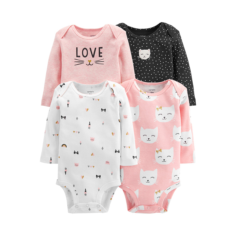 6ca1e9c6df1e 5  Carters 4Pcs Bodysuit Baby girl clothes Cotton long sleeve print ...