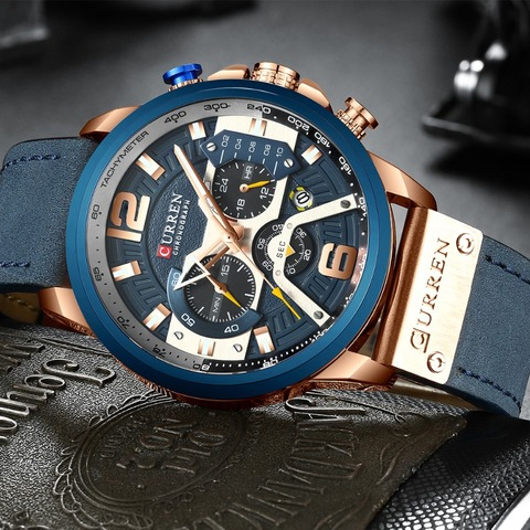 CURREN Casual Sport Watches for Men Blue Top Brand Luxury Military Leather Wrist Watch Man Clock Fashion Chronograph Wristwatch Islamabad