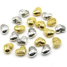 Wholesale New Fashion Zinc Alloy heart beads Metal Silver Gold Spacer Beads charm For DIY Jewelry Bracelet Finding Making
