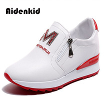 Aidenkid 2019 spring and summer new ladies casual shoes women breathable mesh wedges with to increase