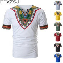 FFXZSJ New Arrived Folk-custom T-shirts Men Summer Casual African Print V Neck Pullover Short Sleeve T-shirt Top Blouse camiseta