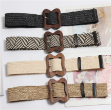 New Vintage Knitted Wax Rope Wooden Bead Waist Women Smooth Buckle Belt Woman Woven Female Hand-Beaded Braided BZ09