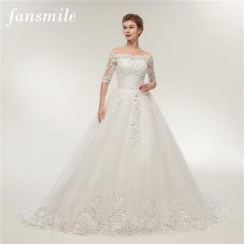 Fansmile Vintage Lace Train Wedding Dresses Long Sleeve 2019 Plus Size Wedding Gowns Vestidos de Novia Tulle Mariage FSM-130T