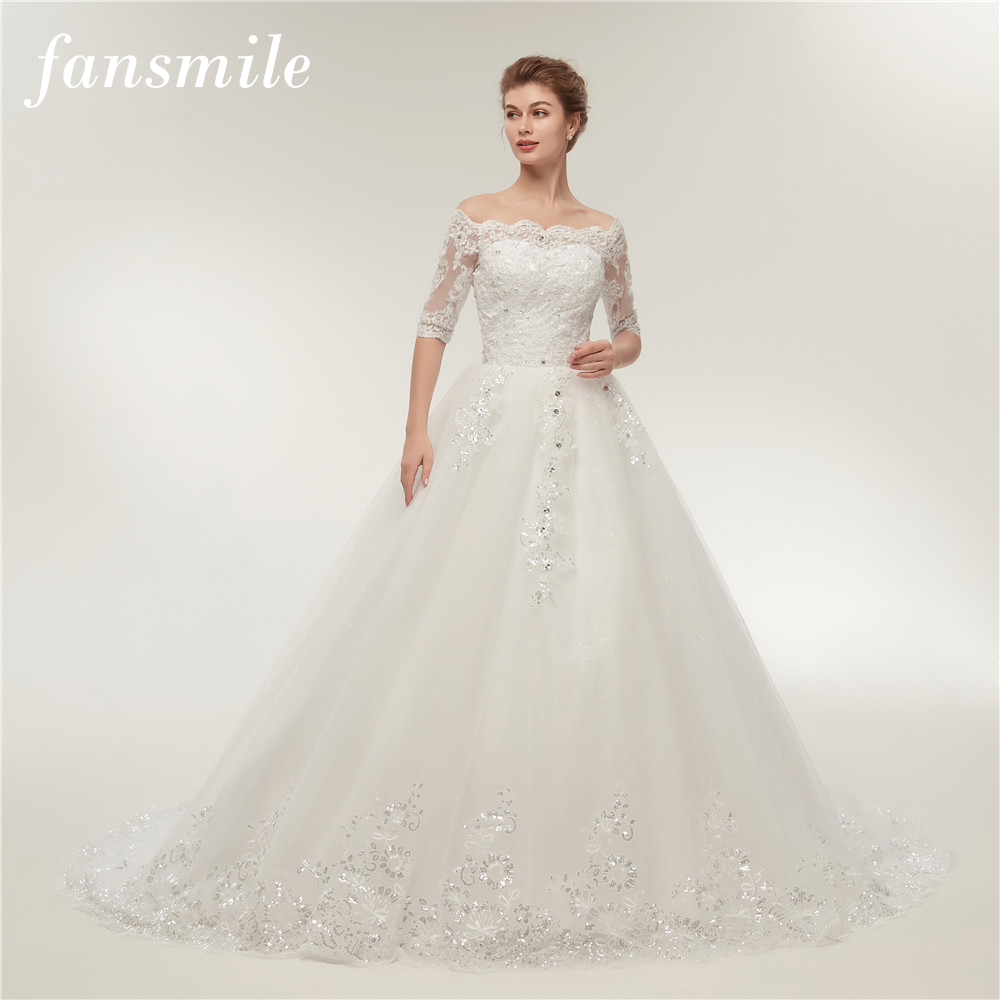 Fansmile Vintage Lace Train Wedding Dresses Long Sleeve 2020 Plus Size Wedding Gowns Vestidos De Novia Tulle Mariage FSM-130T