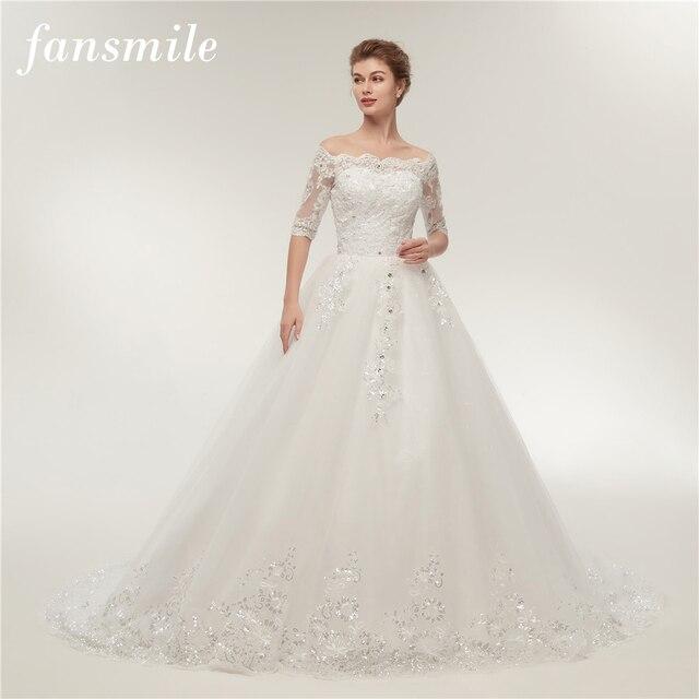 Fansmile Vintage Lace Train Wedding Dresses Long Sleeve 2020 Plus Size Wedding Gowns Vestidos de Novia Tulle Mariage FSM 130T