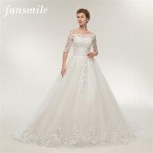 Fansmile robes de mariée Vintage en dentelle, en Tulle, robes de mariée à manches longues, taille grande, 2020, FSM 130T