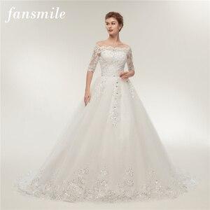 Image 1 - Женское свадебное платье со шлейфом Fansmile, винтажное кружевное платье из фатина с длинным рукавом, модель 2020