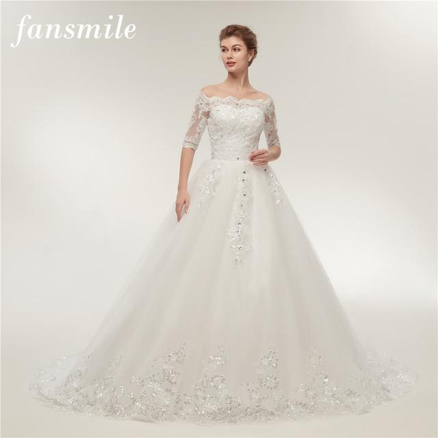 Женское свадебное платье со шлейфом Fansmile, винтажное кружевное платье из фатина с длинным рукавом, модель 2020