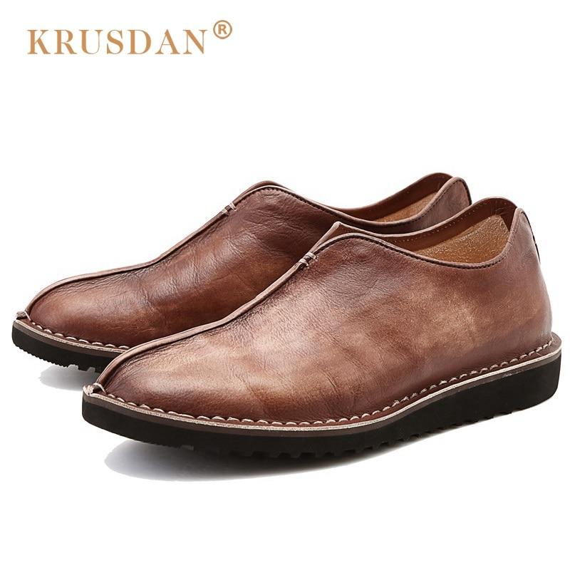 KRUSDAN Luxury Brand Man Comfortable Flat Platform Shoes Vintage Genuine Leather Round Toe Slip on Men's Handmade Footwear OQ89