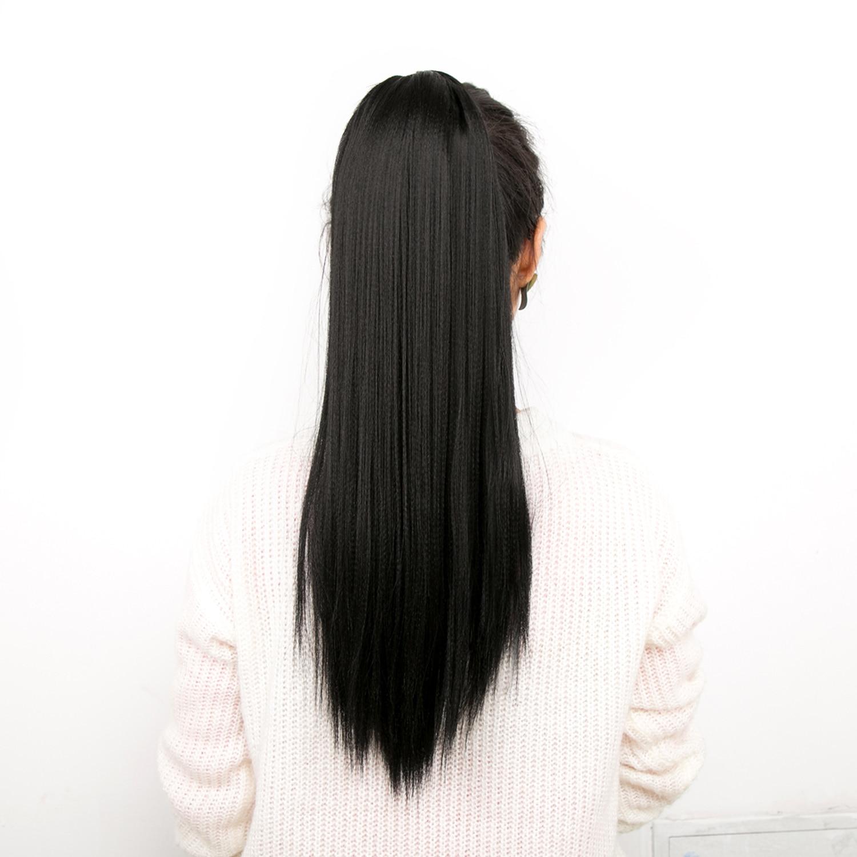 Yaki sintético em linha reta 20 polegada longo cordão rabo de cavalo com clipes em alta puff pony cauda extensão do cabelo chignon