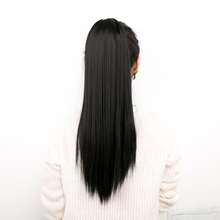Synthetic yaki straight 20 inch long drawstring ponytail with clips in high puff pony tail hair extension chignon trendy long natural black yaki straight afro ponytail women s drawstring hair extension