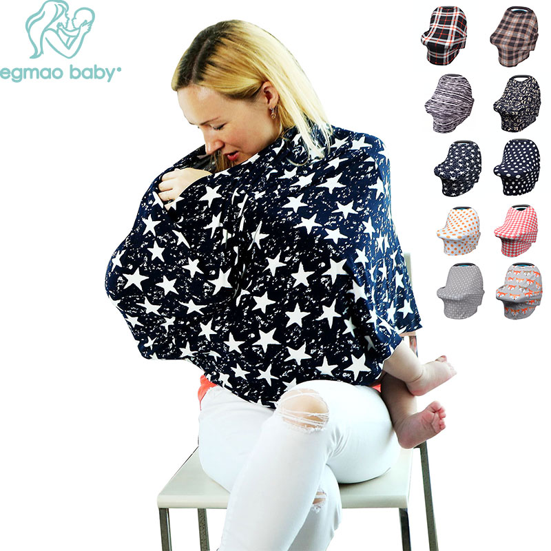 Multi-Use Stretchy Cotton Baby Nursing Cover Breastfeeding Privacy Cover Scarf Blanket Stripe Infinity Scarf Baby Car Seat Cover stylish geometry stripe scarf