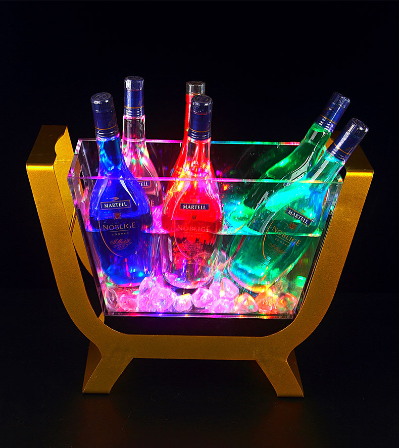 LED ICE Bucket steel frame acrylic bucket can hold more than 6 champagnes Luminous Wine Bottle Holder Boat Shaped Bar props