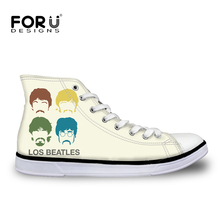 FORUDESIGNS Women Superstar The Beatles Shoes Famous Rock Band Shoes Gun N Rose Shoes Woman Help Girls High top Canvas Shoes
