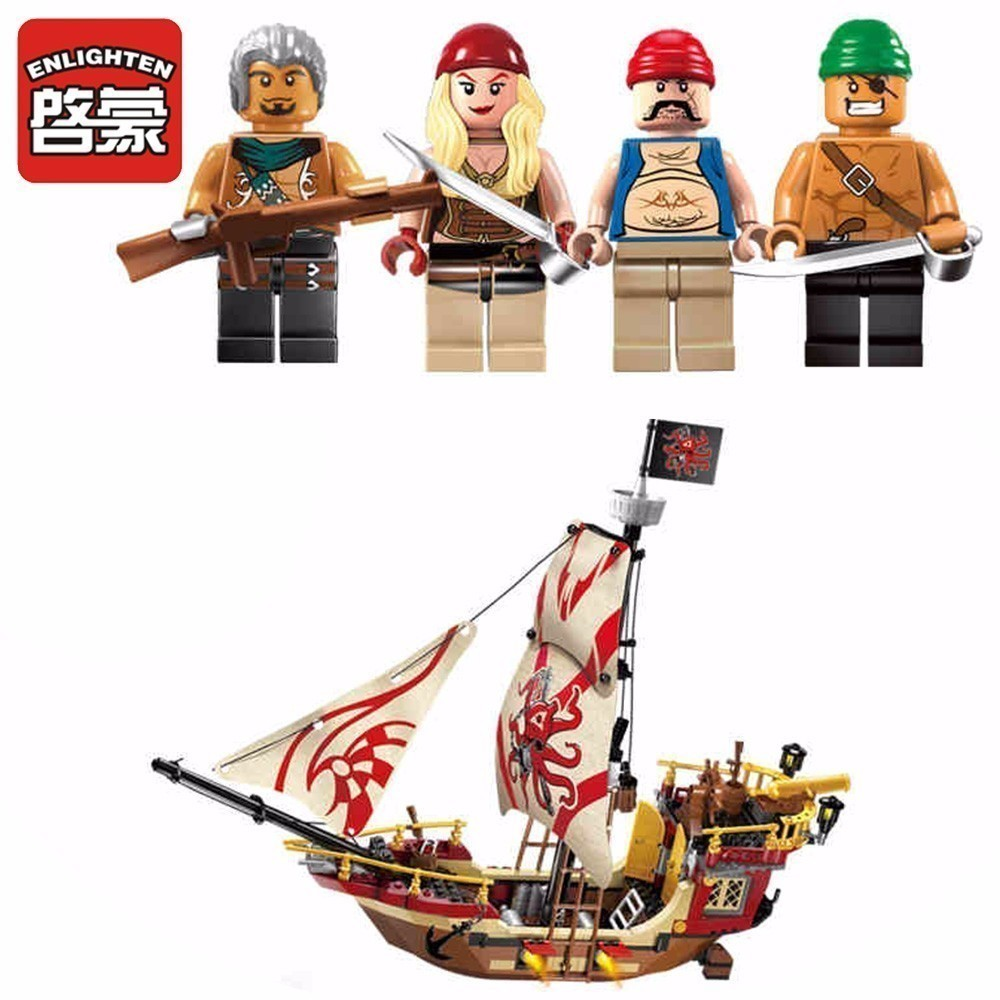 Enlighten Kids pirates Marauder ship building blocks Toys block sets Fun assembling granule blocks