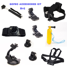 ZJM 9 + 1 Accessories For Go Pro Kit Head Chest Car Mount Selfie Stick for GoPro Go pro HERO 4 3+ 3 2 1 SJ4000