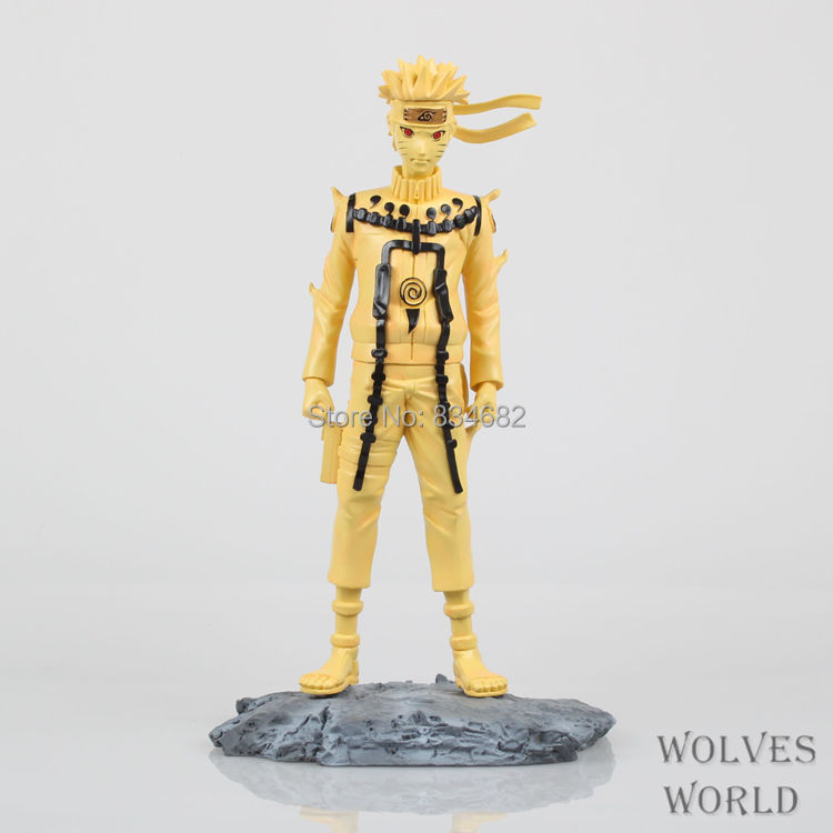 J.G Chen Free Shipping 10 Naruto Anime Uzumaki Naruto Kyubi Mode Golden Color Boxed PVC Action Figure Collection Model Toy anime naruto uzumaki naruto figure bond relation ver pvc action figure resin collection model toy doll gifts cosplay