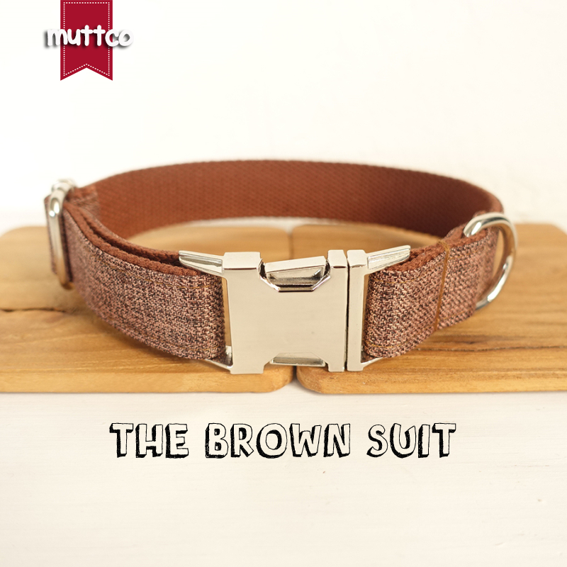 MUTTCO retailing self-designed fashion handmade high quality dog collar like gentleman THE BROWN SUIT dog collar 5 sizes UDC039