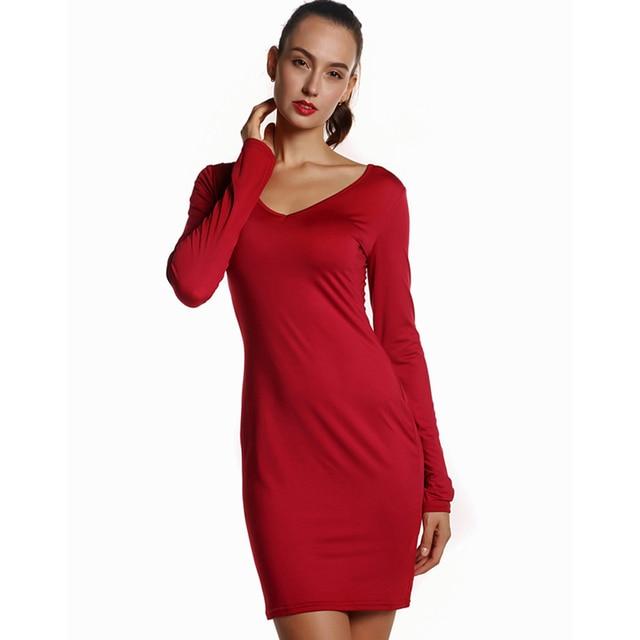8f591bb5f06 Quliaty Milk Silk O Neck Long Sleeve Dresses Women Party Gowns Sheath Mini Dress  Black Red Work V Neck Dress