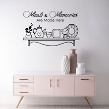 Kitchen Wall Decal Vinyl Art Waterproof Movable Quote Meals and Memories are Made Here Stickers Home Dining Room Decor W512