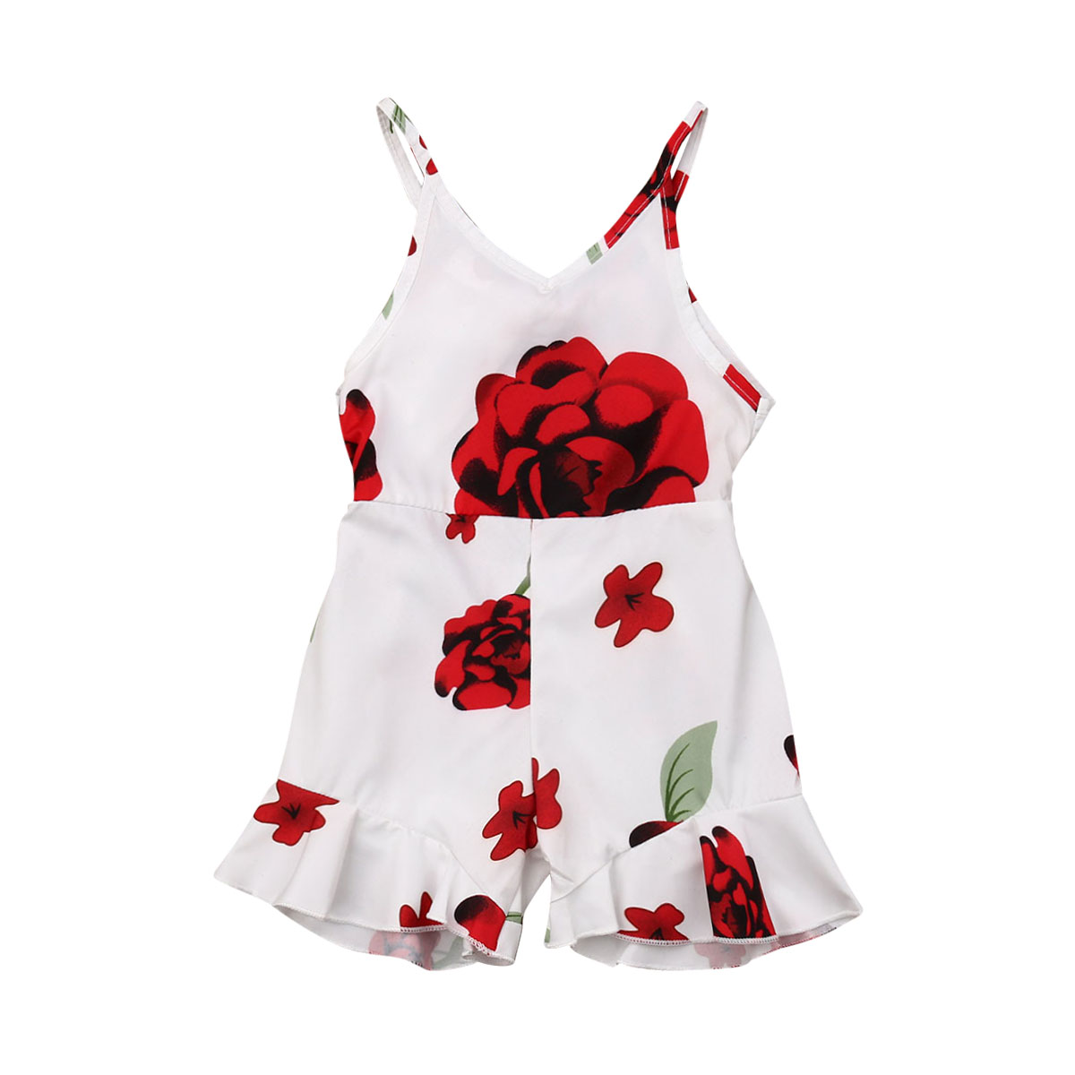 1-5y Peuter Kids Baby Meisje Mouwloze Backless V-hals Strap Bloemen Romper Jumpsuit Een Stukken Zomer Kleding Goede Metgezellen Voor Kinderen Evenals Volwassenen