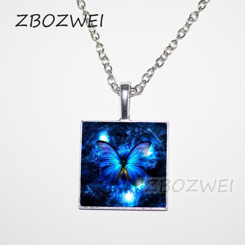 2018 Blue Butterfly Pendant square Necklace fashion vintage Glass pendant dome Cabochon Round Pendant steampunk necklace Jewelry