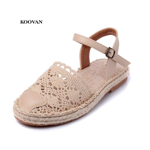 Koovan Women s Summer Sandals 2018 New Women s Shoes Japanese Mori Girl  Sweet Fresh Lace Pierced Flat Female Sandals Girls Net a511fe9d942d