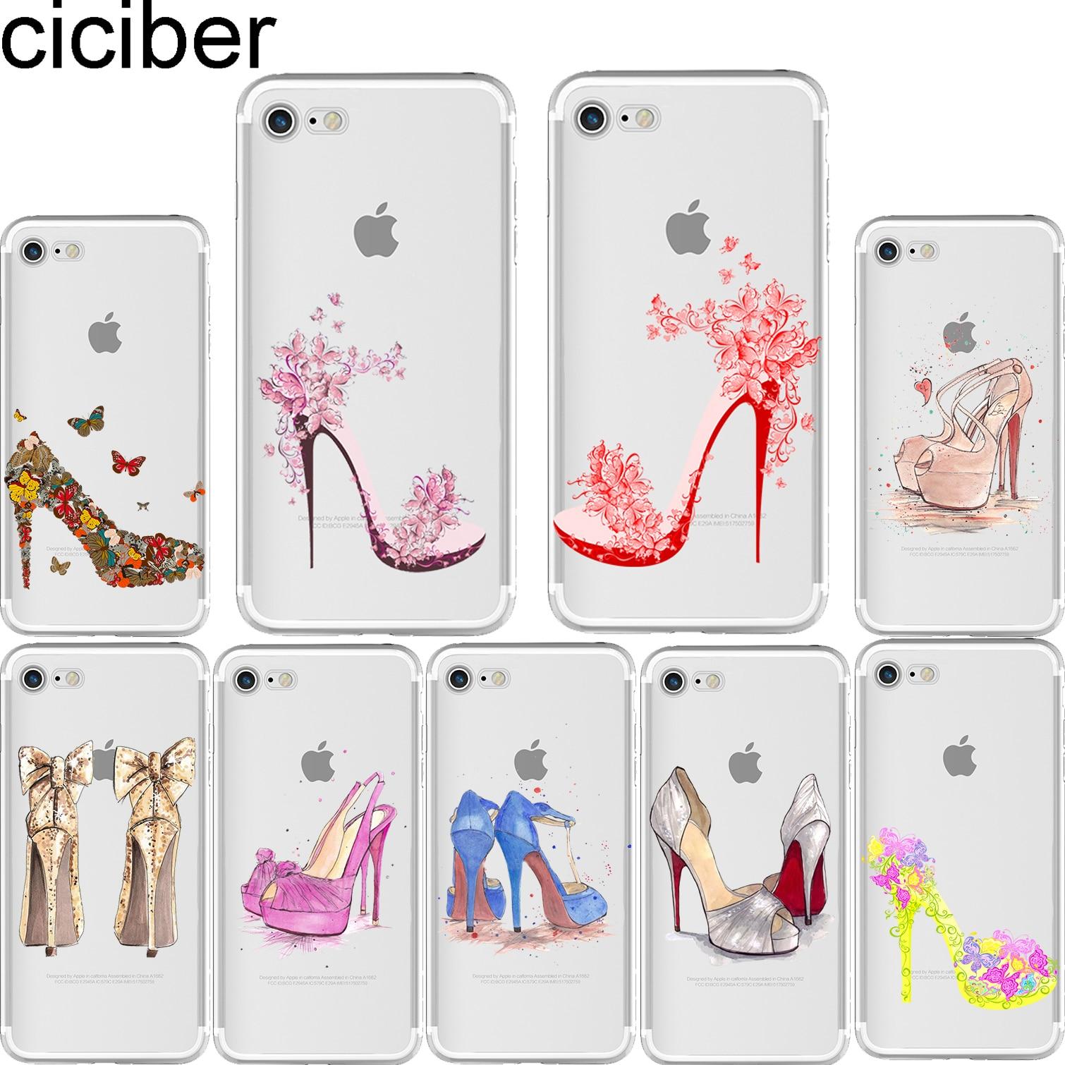 Ciciber Cantik Sepatu Hak Tinggi Pola Lembut Silicon Telepon Kasus Cover untuk IPhone 6 6 S 7 8 Ditambah 5 S SE X Capinha Fundas Coque di Dilengkapi Kasus