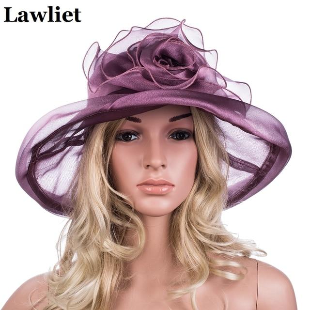 53a2f7c5123b0 Elegant Women Summer Hats Polyester Flower Solid Color Ladies Floppy Hats  Wide Brim Nice Sun hats