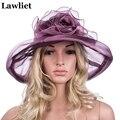Verano de Las Mujeres elegantes Sombreros de Flores de Poliéster Color Sólido de Las Señoras Sombreros de Ala Ancha Floppy Agradables sombreros de Sol para WomenA339