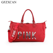 New nylon travel bag large capacity pink letter sequin portable waterproof multi-function weekend fitness