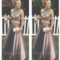 Two pieces prom dress com frisos de cristal beads a line sexy moda venda quente à noite vestidos de baile 2017 real fotos