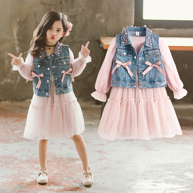 Girls Clothing Sets Spring 2020 Denim Vest+Princess Dress Children Clothes Elegant 2pcs Set Kids Teen Long Sleeve Costume