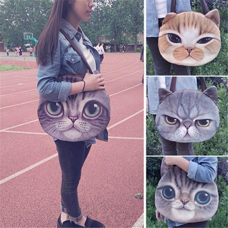 200b77f905 DAUNAVIA 2017 cute Printing 3D cats face female handbag Messenger bag