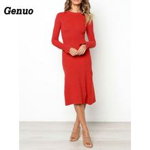 Genuo Elegant Casual Autumn Dress Women Long Sleeve Midi Dress Winter Casual Solid Loose Evening Party Dress Knit Wear Clothes muslim dress women casual solid long dress cheap clothes china