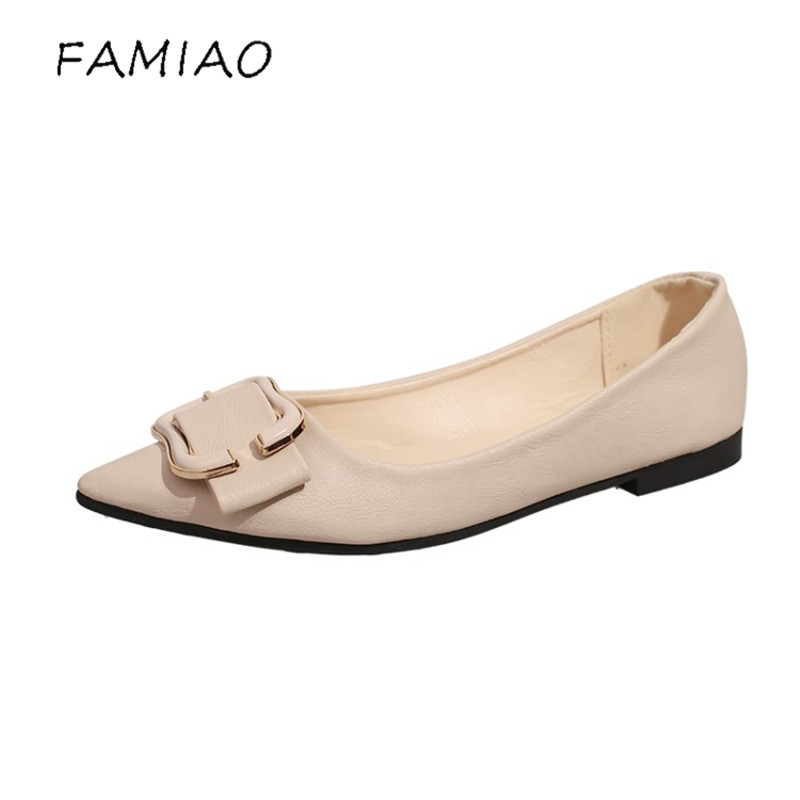 FAMIAO women flat shoes buckle dress party flat with shoes zapatos mujer  Elegant Ballet Flats Soft Bottom Fashion Work Shoes women t strap moccasins flat shoes low heel sandals black gray pink pointed toe ballet flats summer buckle zapatos mujer z193