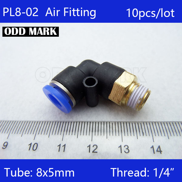 Free shipping 10Pcs 8mm Push In One Touch Connector 1/4 Thread Pneumatic Quick Fittings PL8-02
