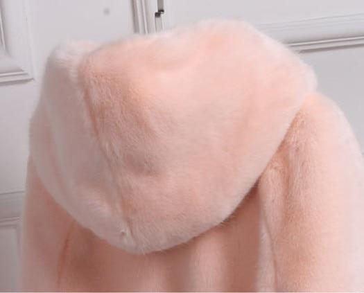 Étanche Outwear Manteau Vetement Fausse Femmes 2018 Plus En Femme Aw171 Hiver Capuche Rose Vison De Faux La Taille À Fourrure fAqzx