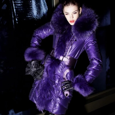 Purple 2016 Winter jacket Women Down jackets women's down coat luxury fox fur collar slim down coats female long design new army green long raccoon fur collar coat women winter real fox fur liner hooded jacket women bomber parka female ladies fp890