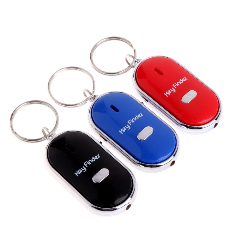 Four-Color LED Key Finder Locator Find Lost Keys Chain Keychain Whistle Sound Control Key Holder Rings Women Men Jewelry