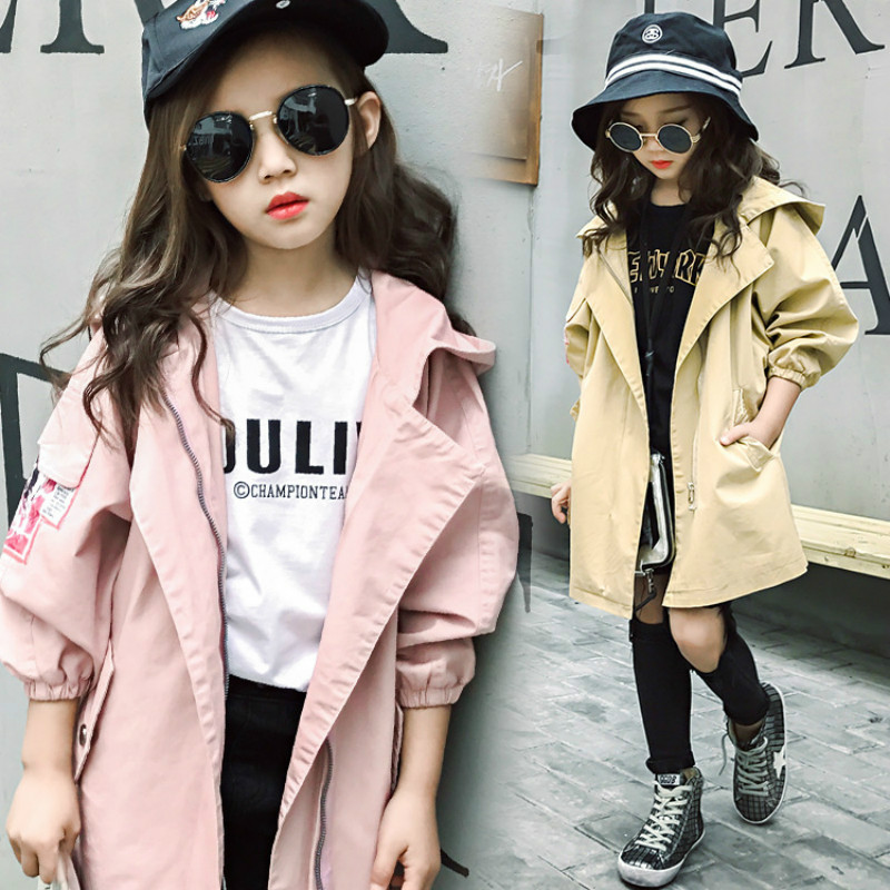 Autumn Girls Outwear Coats and Jackets Windbreaker Hooded Girl Coat Spring Baby Children Jacket Casual Kids Infants and Costumes biboymall winter coat 2017 military coats women cotton wadded hooded jacket casual parkas thickness plus size snow outwear