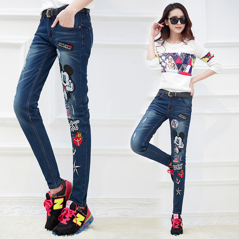 Fashion Korean female holing printing cartoon Mickey denim trousers embroidered pants feet Women slim brand casual jeans S2243