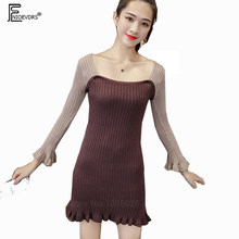 bcc22983f8 Autumn Winter Basic Dresses Women Korean Japan Design Cute Sweet Patchwork  Backless Bow Tie Strapless Sweater Knitted Dress 8711