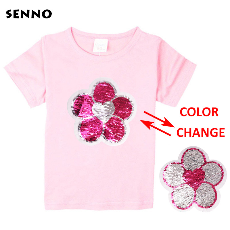 2018 Flower Reversible Sequin Summer Cotton Short Sleeves T-Shirts For Girls Tops & Tees Kids Clothes Sequins Baby Girl T Shirts black lace details round neck short sleeves t shirts